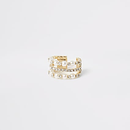 Gold pearl and diamante embellish ring