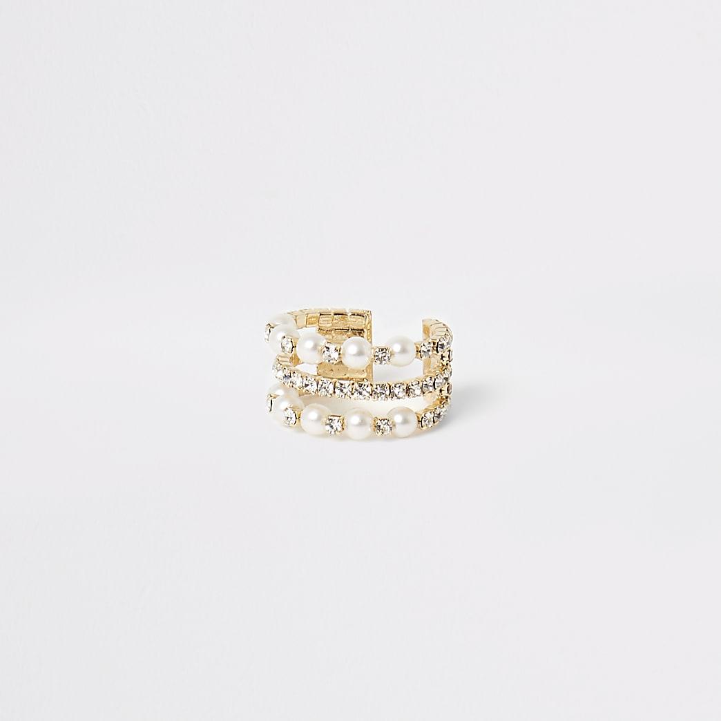 Gold colour pearl and diamante embellish ring