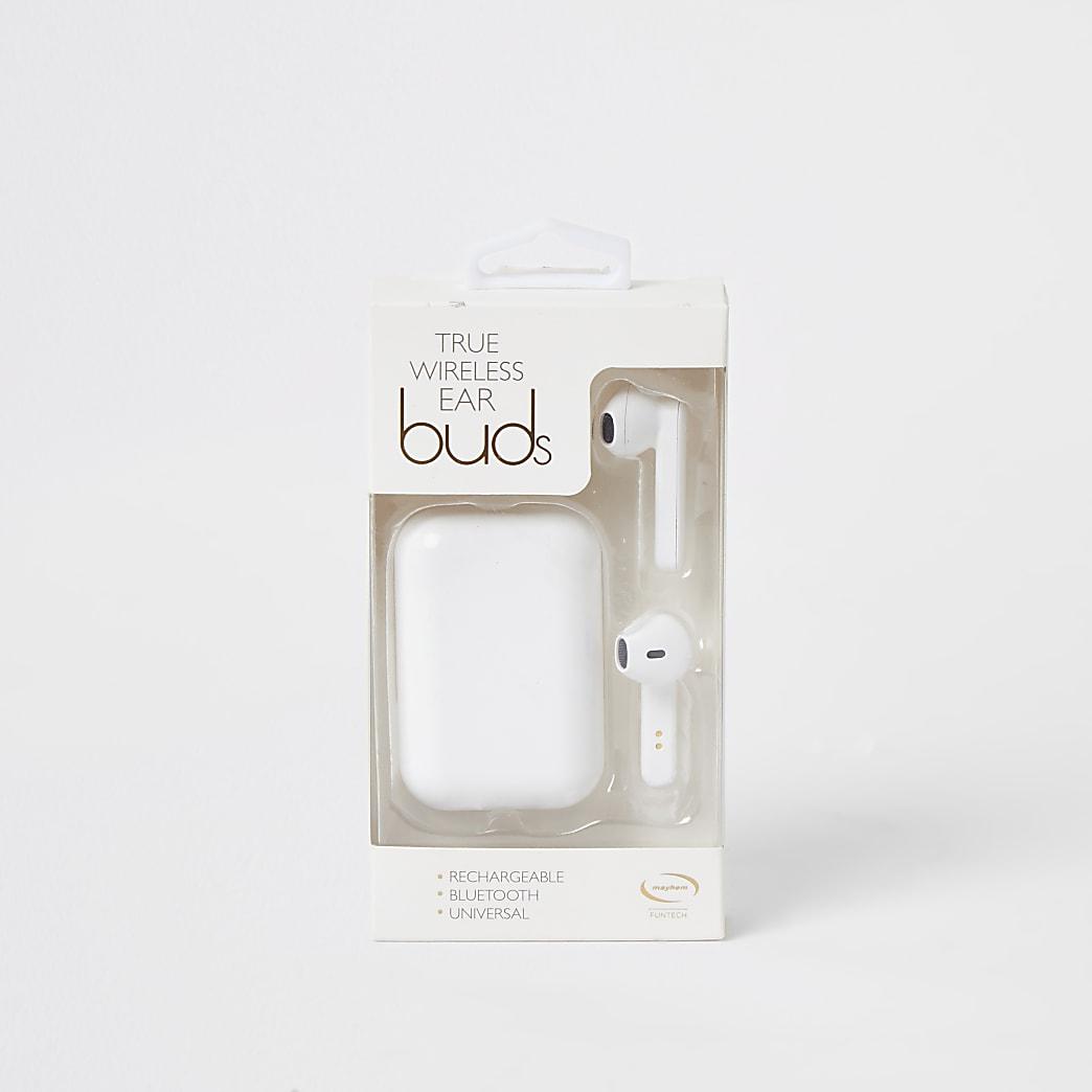 White wireless ear bud headphones