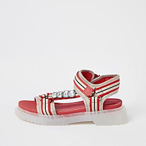 Koraalkleurige sandalen met bandjes en rubberen zool