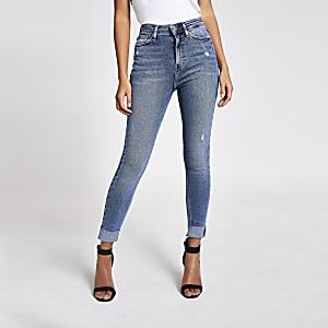 Hailey - Jean taille haute à revers bleu