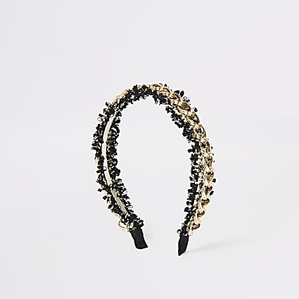 Gold colour chain tweed headband