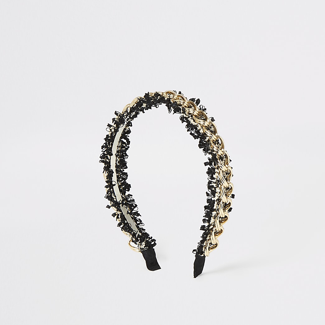 Gold colour chain tweed headband
