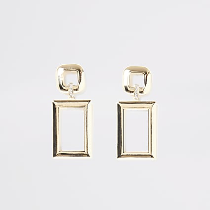Gold rectangle dangle diamante earrings