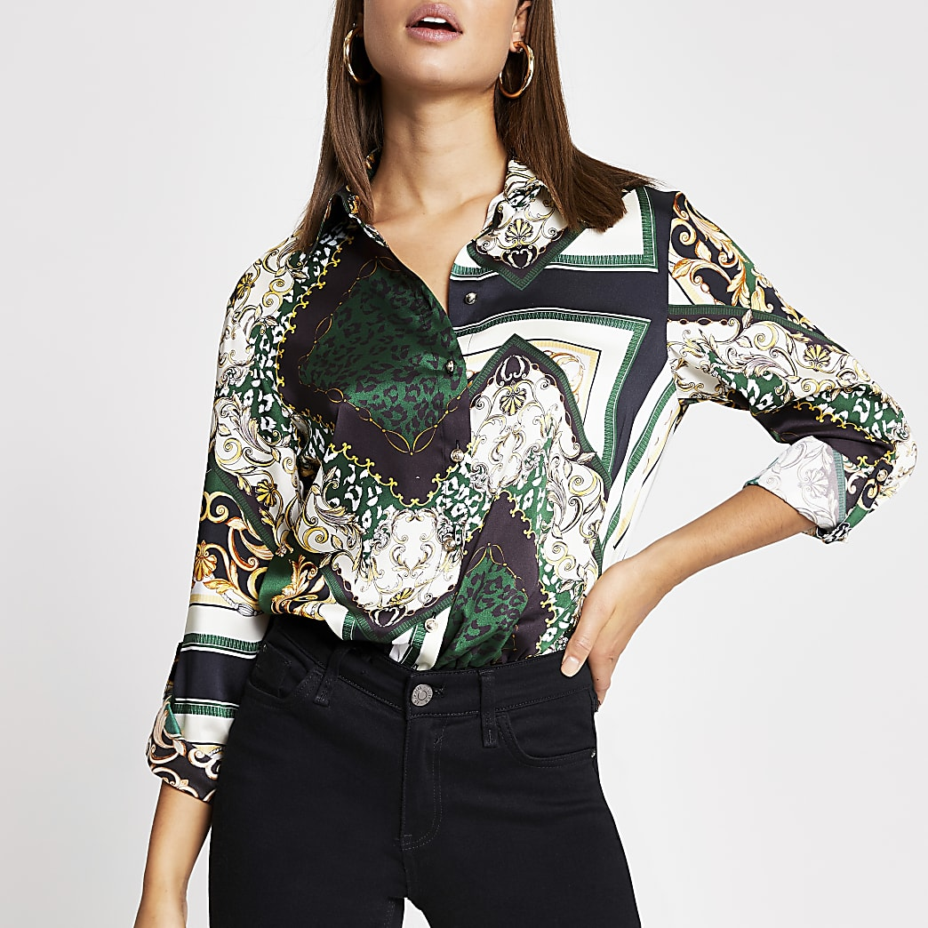 Green printed satin boyfriend shirt