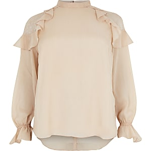 Plus pink glitter lace frill shoulder blouse