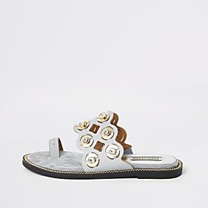 Blue cutout embellished toe loops sandals