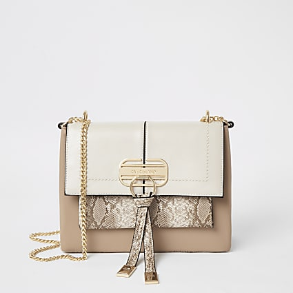 Beige snake print lock front cross body bag