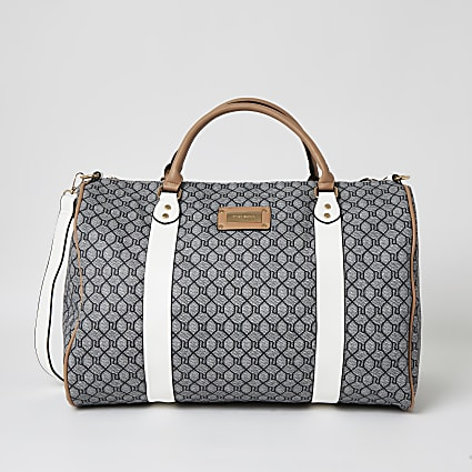 Dark grey RI monogram large duffel bag
