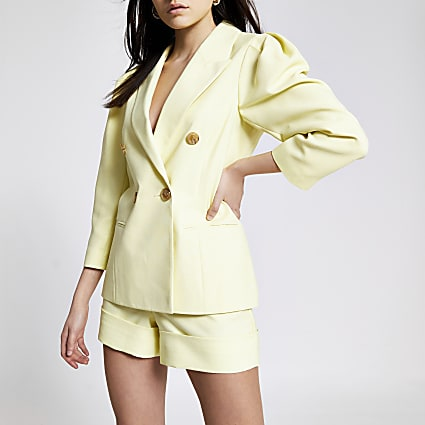 Yellow puff sleeve double breasted blazer