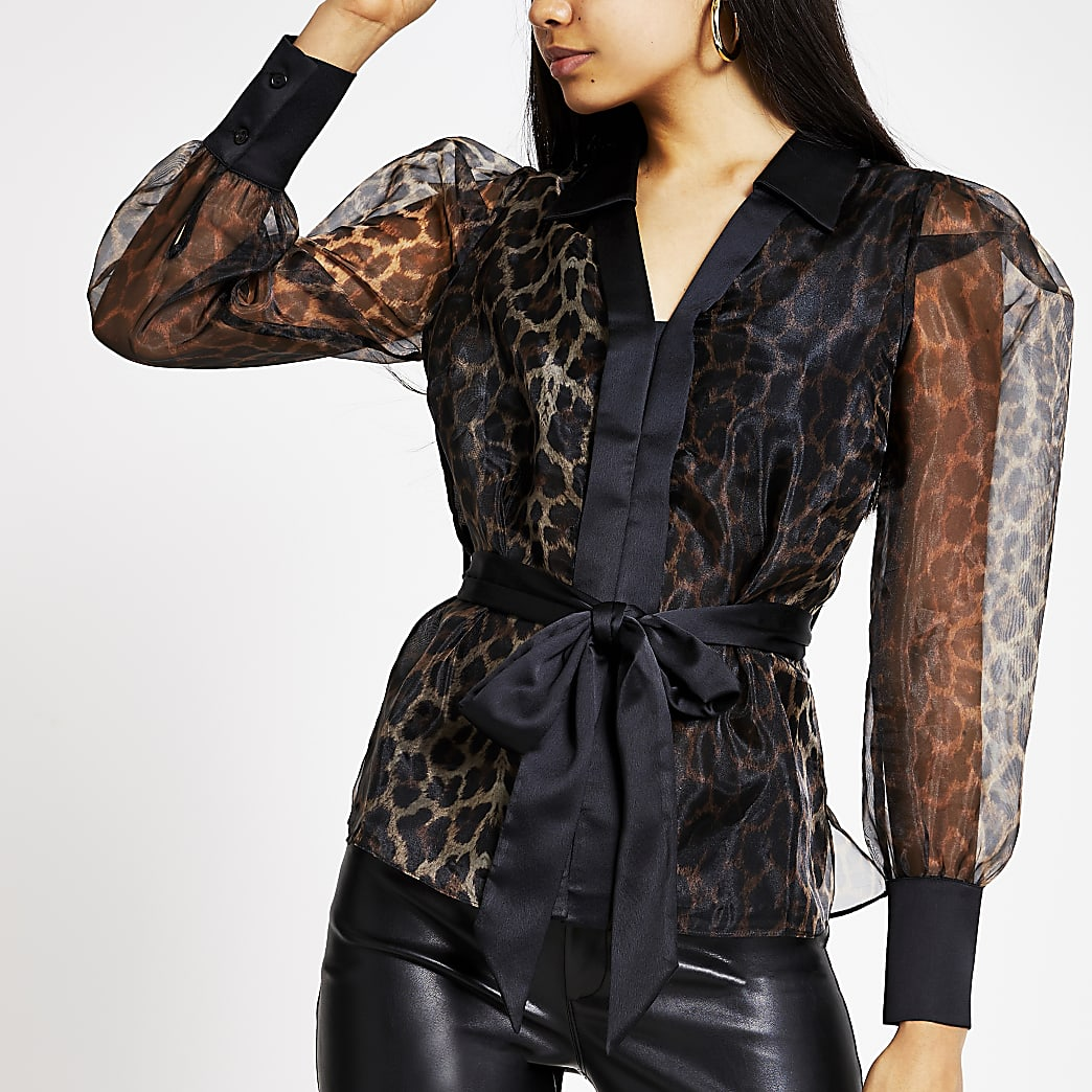 Brown leopard print tie belted organza shirt