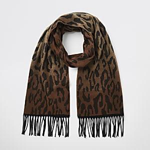 Bruine gebreide sjaal met kleurverloop en luipaardprint