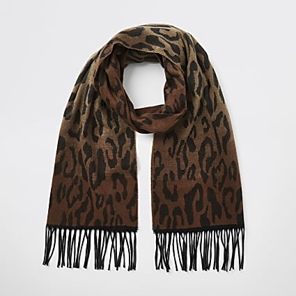 Brown ombre leopard print knitted scarf