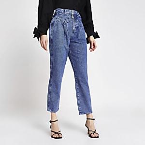 Blauwe slim-fit jeans met tapered broekspijpen en twee knopen