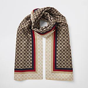 Brauner Schal mit RI-Monogram und gestreifter Zierleiste