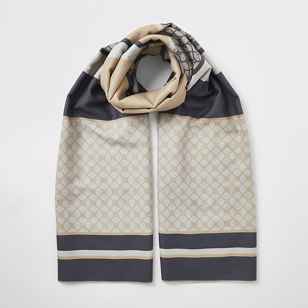 Beige RI monogram blocked print scarf