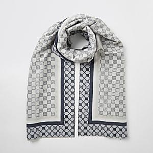 Grauer Schal mit RI-Schachbrett-Monogramm
