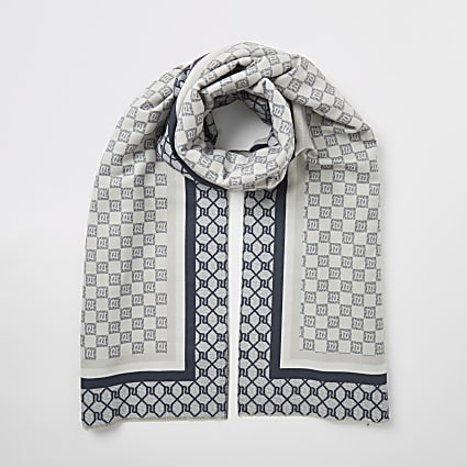 Grey RI checkerboard monogram scarf