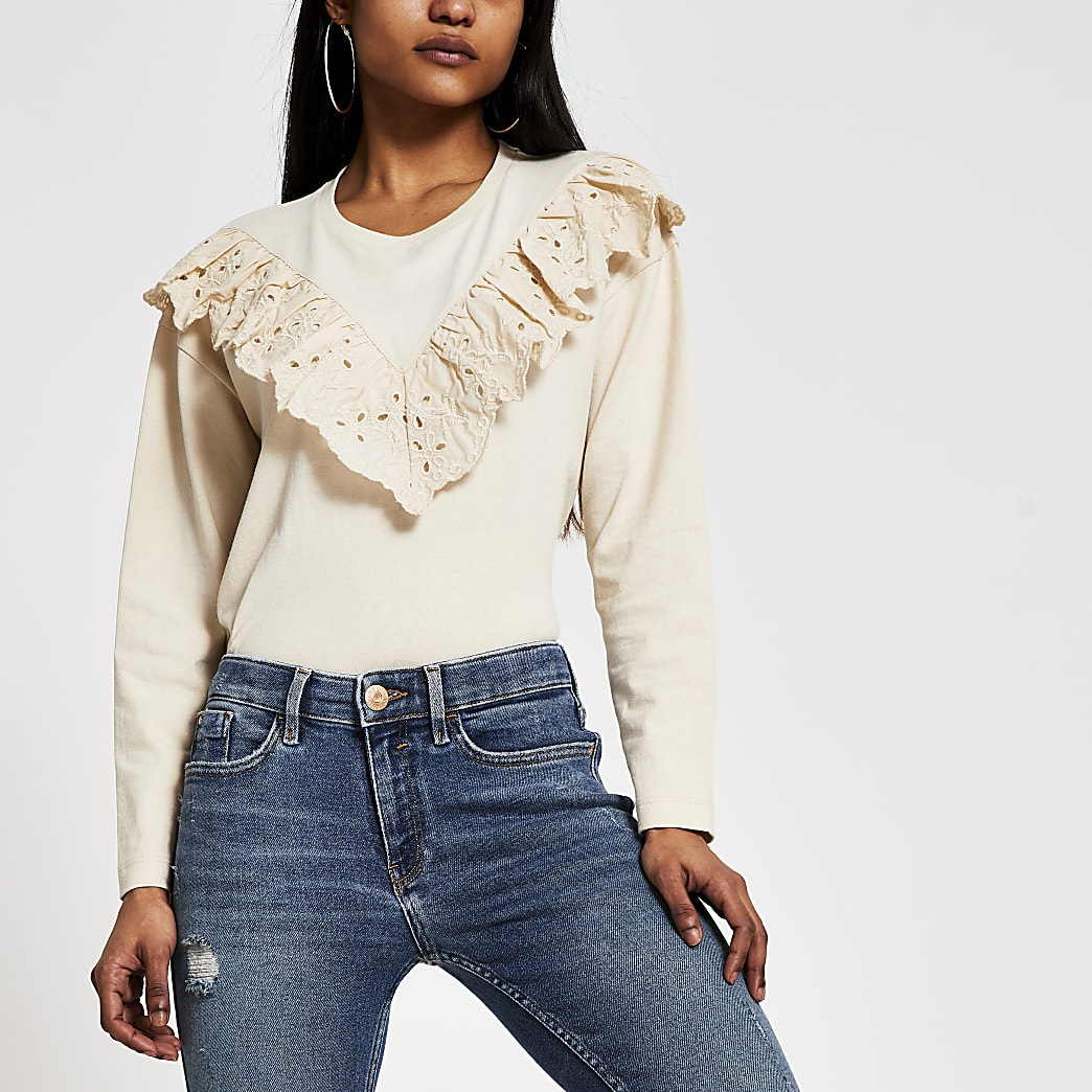 Petite stone broderie long sleeve T-shirt
