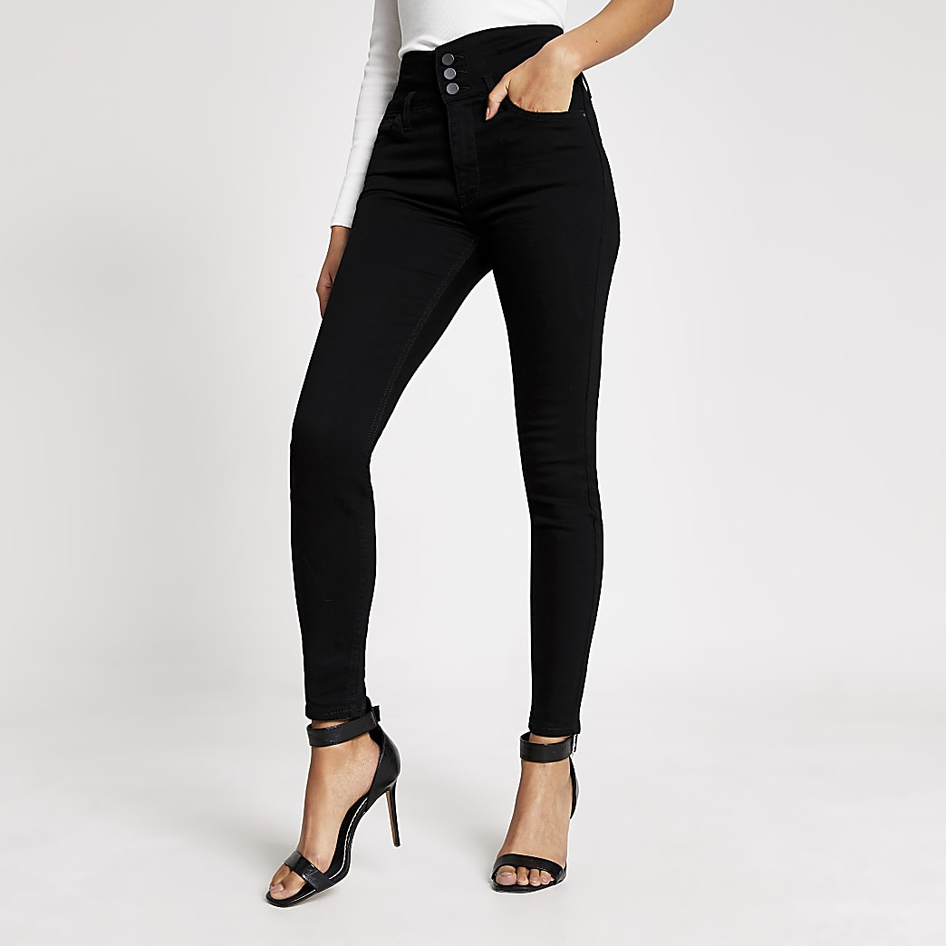 Black Hailey high rise button front jeans