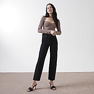 """Schwarze Straight Jeans """"Blair"""" mit hohem Bund"""