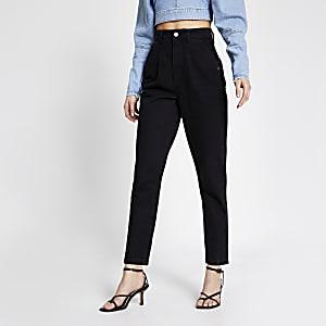 Zwarte high rise jeans met tapered broekspijpen