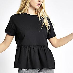 T-shirt péplum à smocks noir à manches courtes