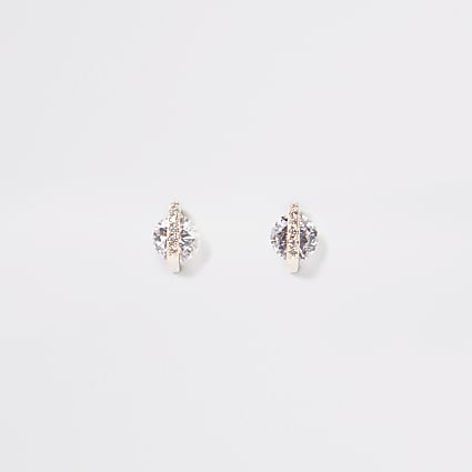 Rose gold colour diamante stud earrings