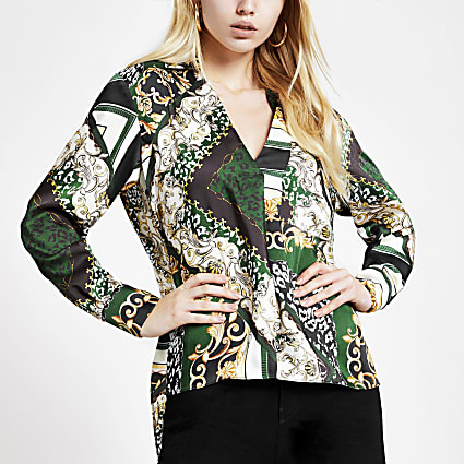 Green printed long sleeve shirt