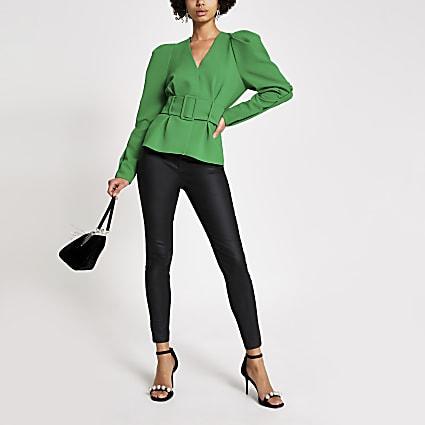 Green belted waist puff shoulder top
