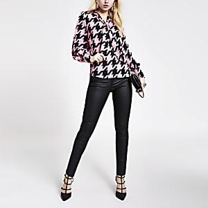 Roze blouse met V-hals met strik en pied-de-poule-print