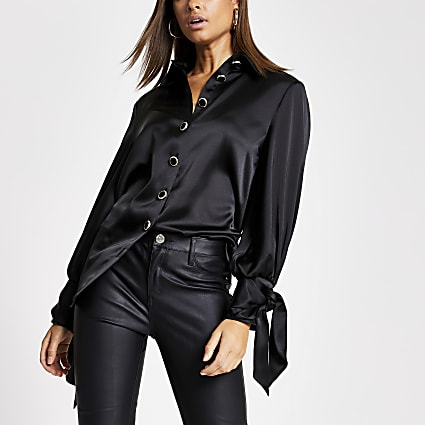 Black long sleeve tie cuff satin shirt