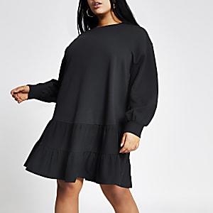 Plus – Gesmoktes Sweatshirt-Minikleid in Marineblau