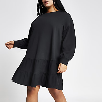 Plus navy mini smock sweatshirt dress