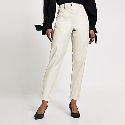 Petite cream faux leather Mom trousers