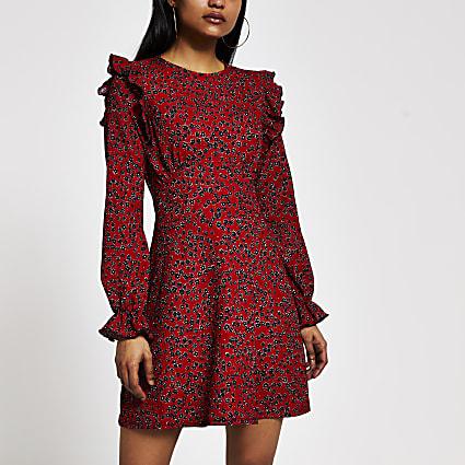 Petite red floral frill sleeve mini dress