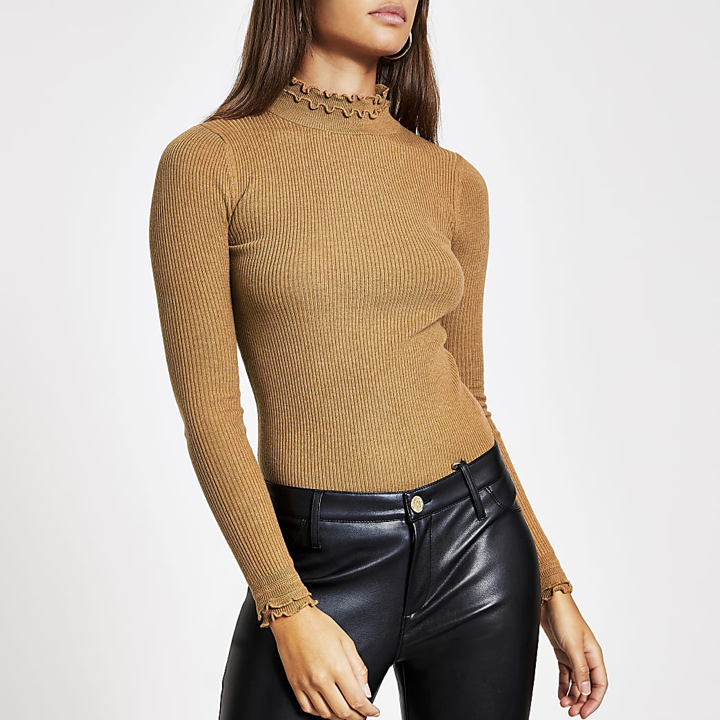 Brown high frill neck fitted rib knit top