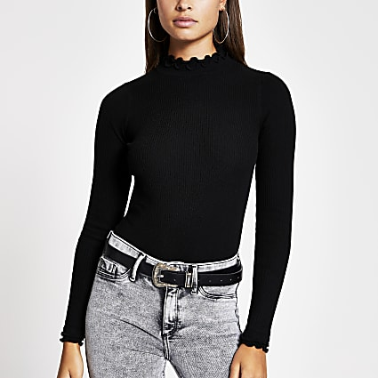 Black high frill neck fitted rib knit top