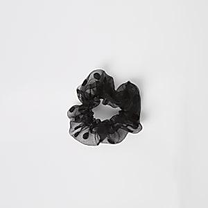 Zwarte organza scrunchie met stippen