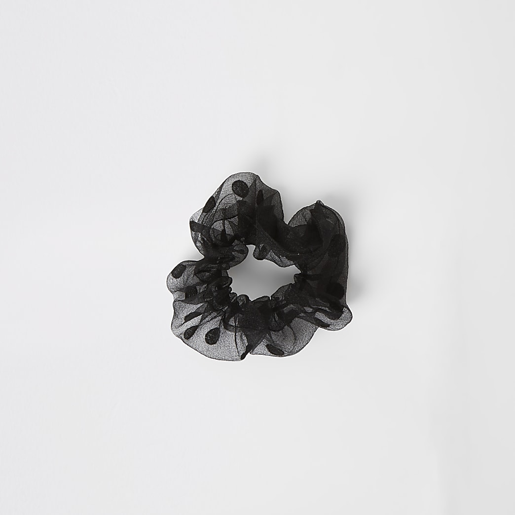 Black polka dot organza scrunchie