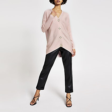 Pink pearl button ribbed knit cardigan