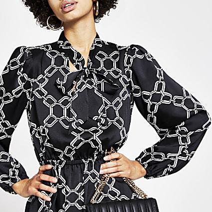 Black chain printed tie V neck midi dress