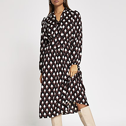 Brown geo printed tie V neck midi dress