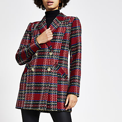 Red check double breasted longline blazer