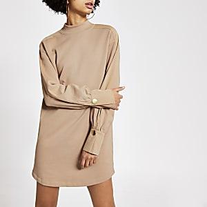 Langärmeliges Sweatshirt-Kleid in Beige mit Stehkragen