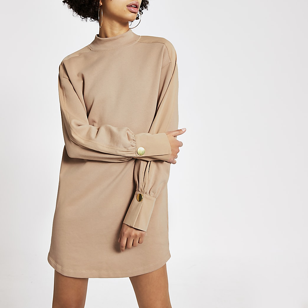 Beige long sleeve high neck sweatshirt dress