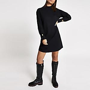 Langärmeliges Sweatshirt-Kleid in Schwarz mit Stehkragen