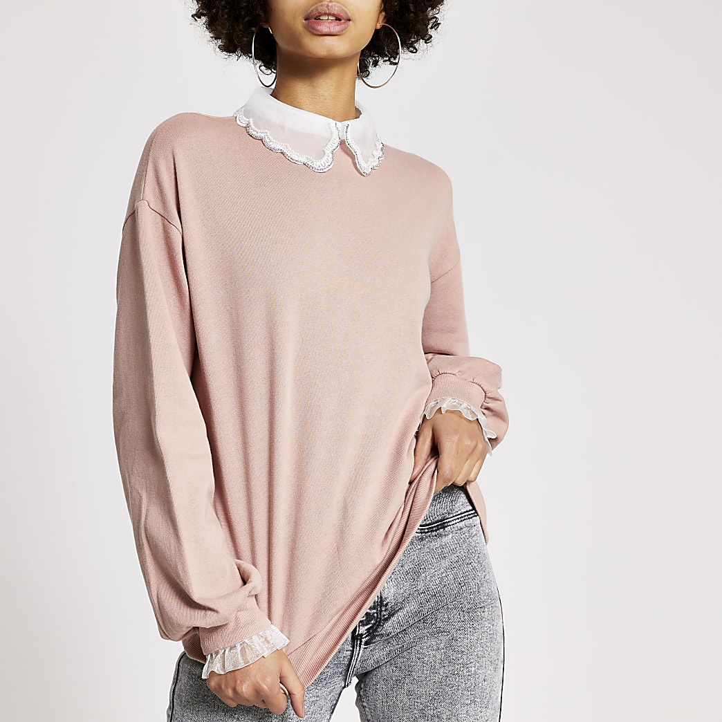 Pink embellished scallop collar sweatshirt