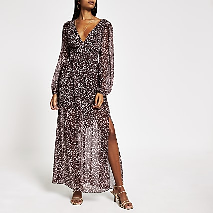 Brown print plunge neck tie waist maxi dress