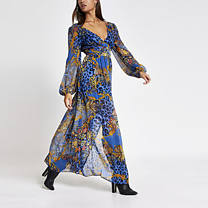 Blue printed plunge neck tie waist maxi dress